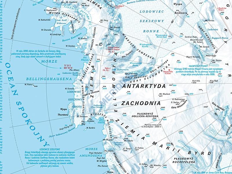 Antarktyda Mapa Fizyczna Pomoce Szkolne
